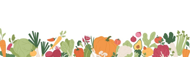 Fototapeta Fresh vegetables and greens border. Banner with healthy organic farm food. Natural veggies of summer and autumn seasons. Colored flat vector illustration of fall harvest isolated on white background obraz