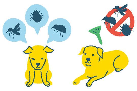 寄生虫予防をする犬のイラスト