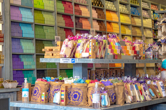 Soap and lavender in a wide variety of scents and colors at French soap shop near the Mediterranean Sea