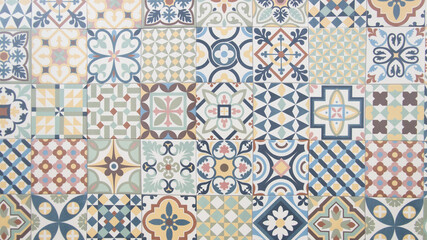 old tile mosaic home colorful decorative art wall tiles pattern in oriental style design background