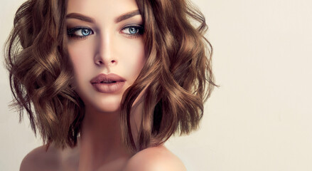 Obraz Beautiful model girl with short hair .Woman brunette  with curly hair. Red head .  - fototapety do salonu
