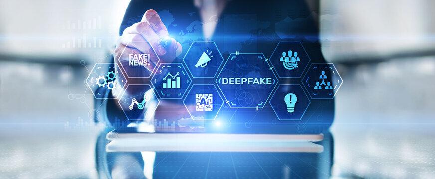 Deepfake deep learning fake news generator modern internet technology concept.