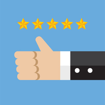 Thumb up with five star rating