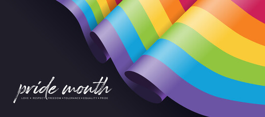Obraz Pride month concept with rainbow pride flag waving on black background vector design - fototapety do salonu