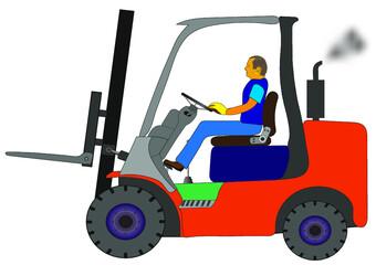 Obraz Spalinowy wózek widłowy w czasie pracy ze smugą czarnych spalin wydobywających się z rury wydechowej. - fototapety do salonu