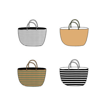 Vector hand drawn beach bag icons. Simple doodle illustration.