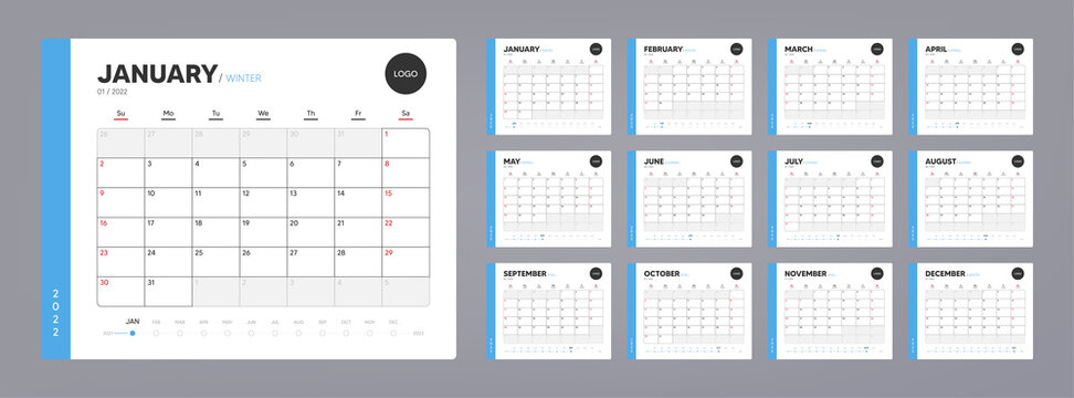 Calendar organizer template for 2022 year. Annual diary planner schedule design. Corporate calendar, business planner. 2022 calendar for events. Holiday diary template. Week starts on Sunday. Vector