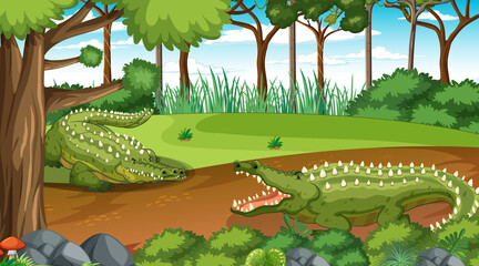 Crocodile in forest at daytime scene with many trees
