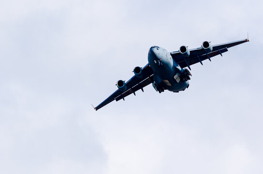 RAF C17 on a training flight during the day with a clear blue sky