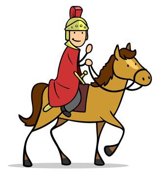 Sankt Martin auf Pferd mit rotem Mantel