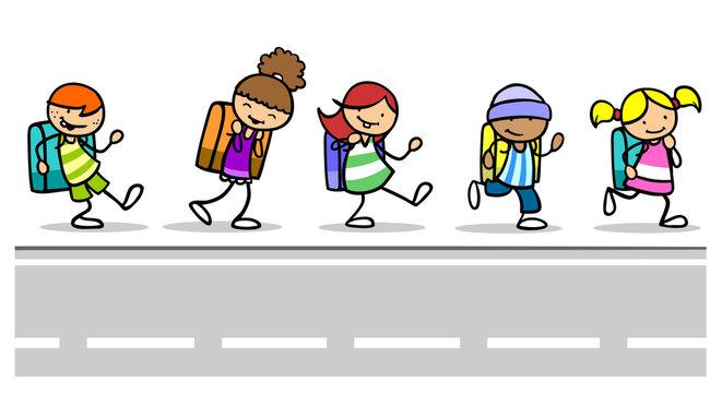 Kinder als Schüler auf dem Schulweg an Straße