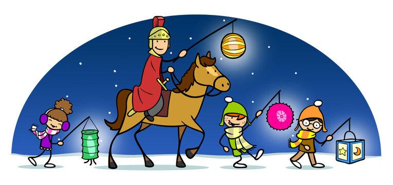 Sankt Martin leuchtet beim Martinszug in Winter Nacht den Weg