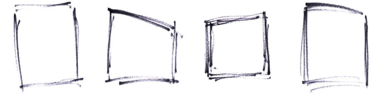 4x gemates unordentliches Rechteck oder Rahmen