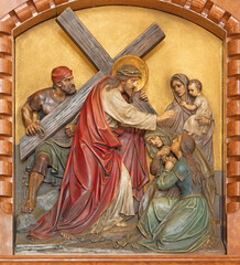 VIENNA, AUSTIRA - JUNI 18, 2021: The relief of Veronica wipes the face of Jesus in the Herz Jesu church from begin of 20. cent. by Workroom from Munich.