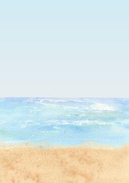 watercolor waves backgrounds clipart, Beach scenry image, Ocean landscape, Sea travel clipart, Hawaiian summer clip art, Blue beige background, Sandy beach