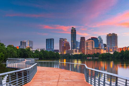 Austin, Texas, USA downtown skyline over the Colorado River