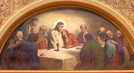VIENNA, AUSTIRA - JUNI 18, 2021: The detail of fresco of Last supper garden in Herz Jesu church from begin of 20. cent. by autor with F.Z. initials.