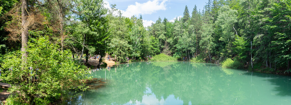 Colorful Lakes (Kolorowe Jeziorka) Poland - Lower Silesia. Post-mining dumps flooded with water make it have different colors