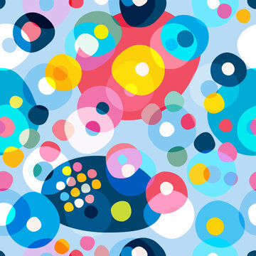 Seamless repeat pattern of colorfull circles, dots. Vector.