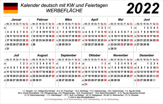 Kalender 2022 - weiß - quer - deutsch - mit Feiertagen (85 x 54 mm)