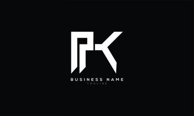 Obraz PK P AND K Abstract initial monogram letter alphabet logo design - fototapety do salonu