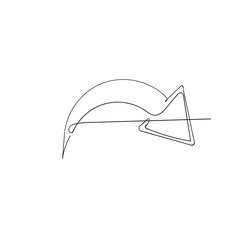 hand drawn doodle continuous line drawing arrow symbol illustration vector isolated