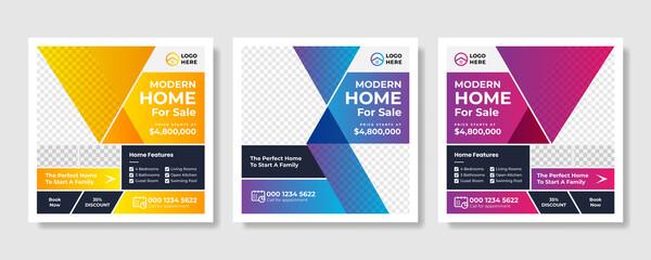 Fototapeta Real Estate Social Media Post Template, Editable Post Template Social Media Banners design obraz