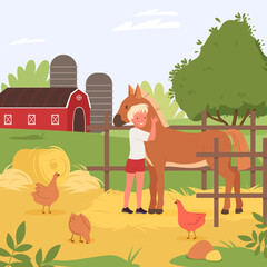 Happy child spend fun time with domestic animals vector illustration. Cartoon farmer boy character hugging cute horse, agriculture scene of kids summer holidays at village farm countryside background