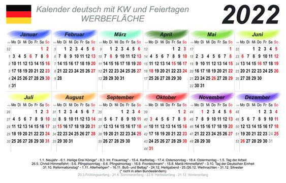 Kalender 2022 - Regenbogen Wasserfarben - quer - deutsch - mit Feiertagen (85 x 54 mm)