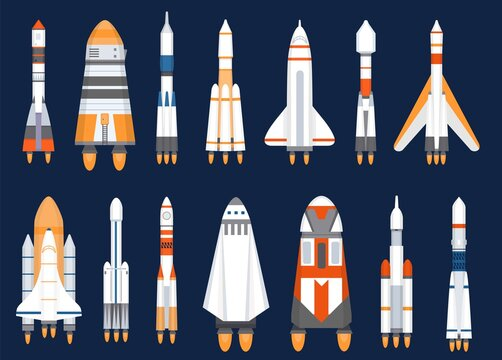 Space rockets. Flat spaceship shuttles launched for cosmic explore mission. Futuristic galaxy travel technology, spacecraft ship vector set