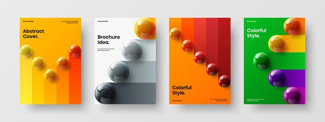 Fototapeta Minimalistic handbill A4 vector design template composition. Colorful realistic spheres banner illustration set. obraz