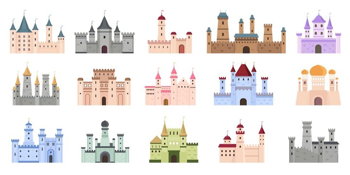 Medieval castles. Fairytale buildings, fortress and royal palaces. Flat ancient gothic architecture with towers. Cartoon castle vector set