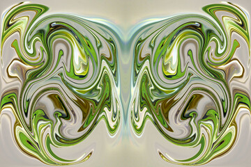 Obraz Abstraction in collage using color and shape distortion of a layer along with repetition. - fototapety do salonu