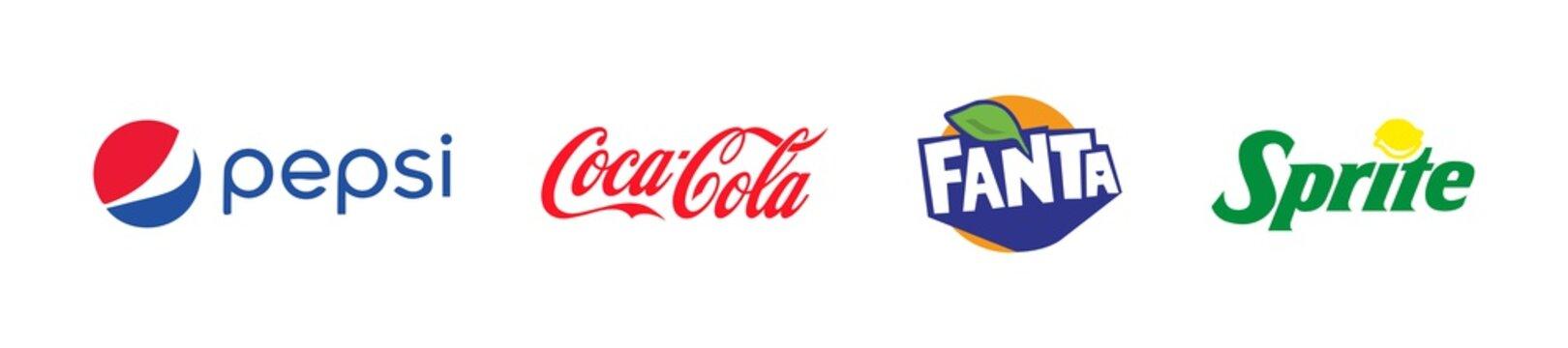Kiev, Ukraine - June 30, 2021: Popular soft drinks logo set. Pepsi Coca Cola Fanta Sprite. Vector illustration.