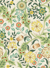 Fototapeta Floral seamless pattern with big flowers and foliage on light background. Vector illustration. obraz