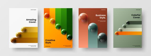 Obraz Trendy realistic spheres leaflet template set. Premium catalog cover A4 vector design layout composition. - fototapety do salonu