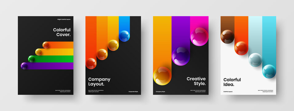 Fresh realistic spheres annual report layout set. Isolated book cover vector design illustration bundle.