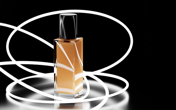 Cosmetics glass bottle of skin foundation with abstract neon rings on black background mock up banner. Make up product concealer, toner or bb cream in glowing circle or swirl, 3d illustration