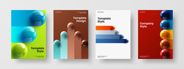 Obraz Original 3D balls company brochure layout collection. Simple annual report design vector illustration set. - fototapety do salonu