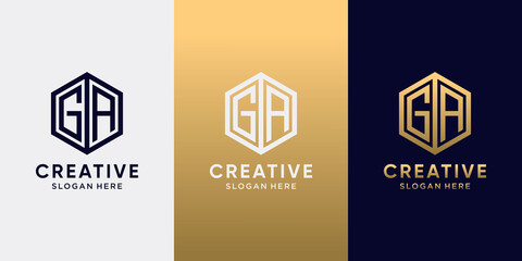 Fototapeta Creative monogram logo design initial letter GA with line art style and hexagon concept obraz