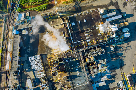 Aerial panoramic view of tanks for chemical mixing Industrial plant with chemical industry system