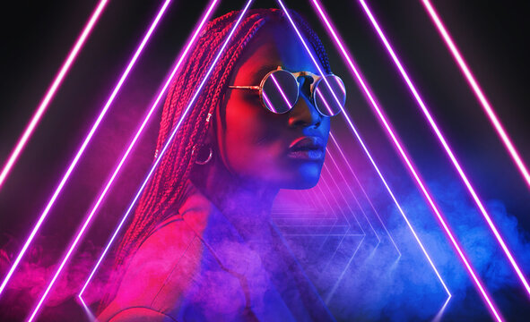 3d render, ultraviolet neon triangular portal, glowing lines, tunnel, corridor, virtual reality, abstract fashion background with afro girl, violet neon lights