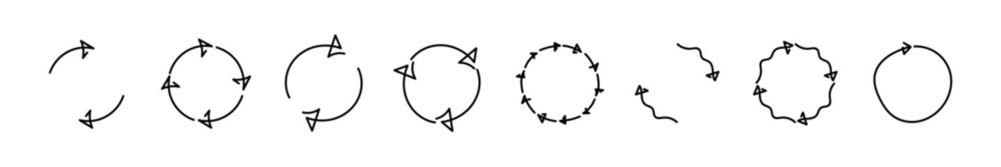 Fototapeta Arrow rotation doodle set circle reverse vector hand drawn, round arrows circular cycle collection illustration. obraz