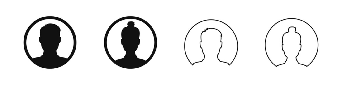 User profile avatar in circle icon, male and female silhouette in round shape for anonymous internet social media man and woman flat illustration.