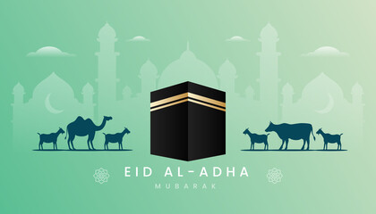 Eid Al Adha Greeting Card With Gradient Green Color Theme Kaaba Illustration