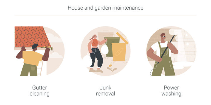 House and garden maintenance abstract concept vector illustration set. Gutter cleaning, junk removal, power washing, leaf and moss removal, yard waste disposal, remove dust and mold abstract metaphor.