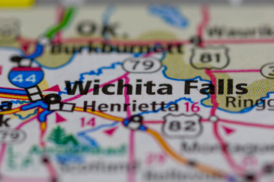 06-30-2021 Portsmouth, Hampshire, UK, Wichita Falls Texas USA shown on a Geography map or Road map