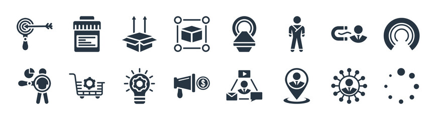 Fototapeta ui filled icons. glyph vector icons such as loading, placement, marketing budget, user behavior, user attraction, product release, mri scanner, urine test sign isolated on white background. obraz