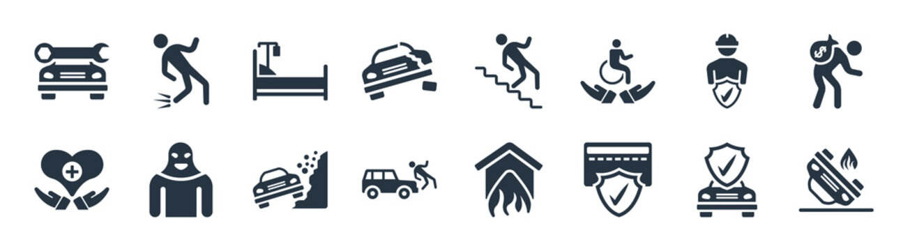 insurance filled icons. glyph vector icons such as accident, payment protection, frontal crash, heart insurance, construction risk, hospitalization, falling from stairs, fall accident sign isolated