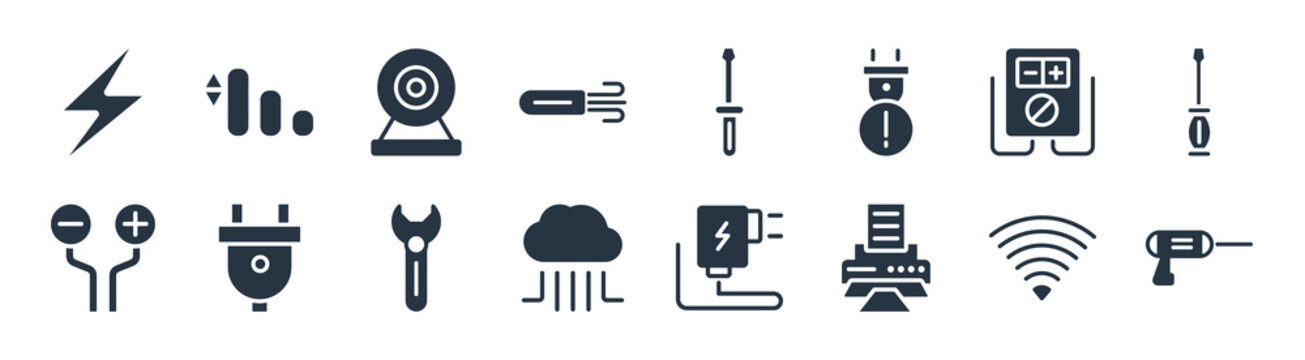 electrian connections filled icons. glyph vector icons such as driller, print, cloud, wires, voltmeter, web camera, screwdriver, medium sign isolated on white background.